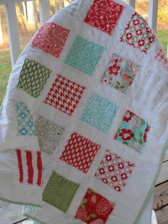 Baby Quilt, Moda Vintage Modern by Bonnie and Camille, Patchwork, Christmas Quilt. $95.00, via Etsy.