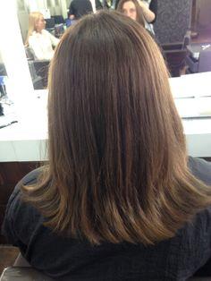 One length hair cut, layer & forward graduation on Layla- 27/07/2015