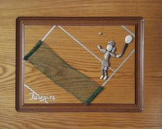 50x40 cm Tennis player Pebble art  Unique gift for a от IOULIAArt