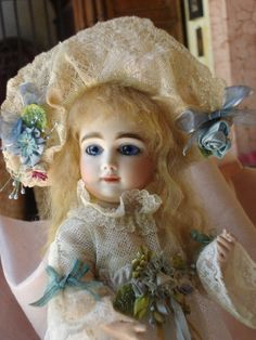 "AT Kestner 13"" tall on a comp body, mohair wig, antique lace dress with ribbonwork"