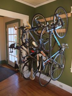 Multiple bikes must be hung at alternating heights