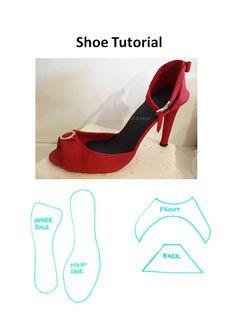 Znalezione obrazy dla zapytania high heel shoe template for fondant Shoe Box Cake, Shoe Cakes, Cupcake Cakes, Purse Cakes, Baking Cupcakes, Fondant Cakes, Barbie Shoes, Doll Shoes, Barbie Clothes