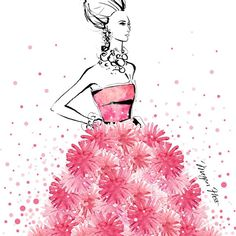 As she walked, little puffs of pink magic floated into the sky......of all my dresses, my imaginary ones are the best!