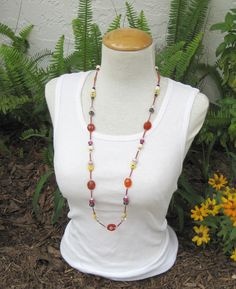 Long necklace, Tribal Boho