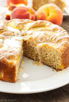 "Cinnamon Peach Yogurt Cake- All you had to say was ""peach."" :)"