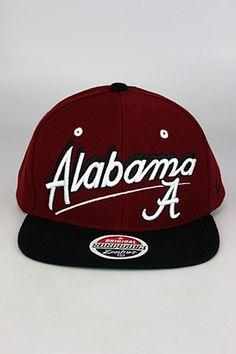 Zephyr Shadow Script University Of Alabama Crimson Tide Snapback Hat Burgundy - Black - White