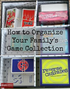 Get a handle on the family game closet/cupboard/hoard. Great ideas to keep it all together. Via Mom Advice
