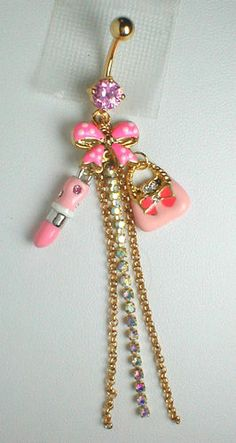 Unique Belly Ring Pocketbook Lipstick and Bow | eBay