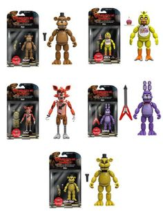 "Five Nights at Freddy's 5"" Freddy, Chica, Foxy, Bonnie, Gold Freddy Action Figures! Set of 5 This so cool! I want it!!"