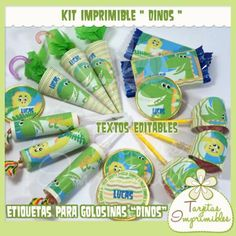 Kit de etiquetas de golosinas Dinos