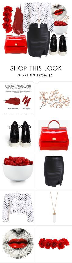 """""""Bad Blood and Polka Dot"""" by fashion-bea-16 ❤ liked on Polyvore featuring Urban Decay, STELLA McCARTNEY, Dolce&Gabbana, The Cellar, Accessorize, Fornasetti, women's clothing, women, female and woman"""