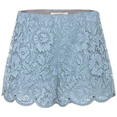 Valentino Lace Shorts (€1.560) ❤ liked on Polyvore featuring shorts, blue, lace shorts, lacy shorts, blue shorts and blue lace shorts