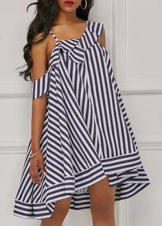 47dd8570631 Asymmetric Hem Stripe Print Straight Dress on sale only US 30.98 now