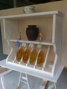 Piattaia mensola rustica scolapiatti legno rustico cucina - Cucina legno bianco decapato ...