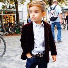 Cute kid in tux shopping!!!