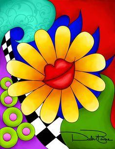 """Flower Lips"" - with background - by Debi Payne of Debi Payne Designs"