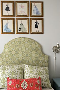 Guest Room / Sewing Office. Frame vintage patterns. Living With Kids: Wendy Hyde