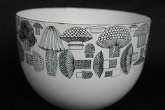 Gorgeous mushroom-pattern bowl by Finel