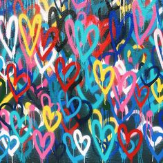 street art | bleeding hearts, colorful mural by jason goldcrown | NY - via @amyventures