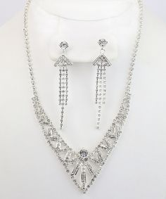 This Silver & Gem Modern Deco Necklace & Earrings Set by By the Bay is perfect! #zulilyfinds