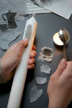 Kerzenverzieren von Lebenslustiger.com, candle DIY transfers without using glue.