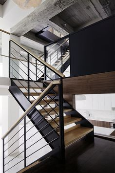 Switchback staircase in a Brooklyn town house