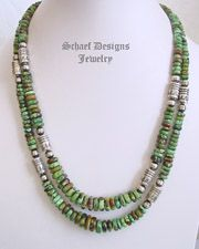 Schaef Designs High end green turquoise & Sterling Silver Tube Bead Necklace set  | New Mexico