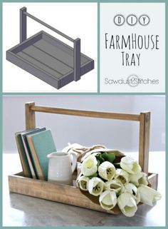 DIY Farmhouse Tray with Build Plans by Sawdust2Stitches.com