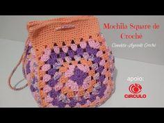 Mochila Square de Crochê Fácil - YouTube Knitting Videos, Crochet Videos, Crochet Designs, Crochet Baby, Knit Crochet, Thigh Tattoo Quotes, Crochet Bag Tutorials, Crochet Handbags, Crochet Hearts