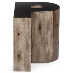 Bea Industrial Loft Alphabet Letter P Wood Side Table | Kathy Kuo Home
