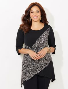 Modern Dot Top | Catherines  Our modern top gives a new meaning to the term asymmetrical. This soft stretch top is covered with a bubbling print that creates a zig-zag shape against its solid counterpart. Complete with a two-point hem. Scoop neckline. Three-quarter sleeves. Catherines tops are perfectly proportioned for the plus size woman. #catherines #catherinesplus #plussize #plussizefashion