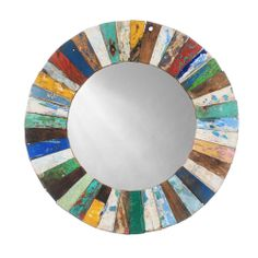 Ecologica Round Wood Mosaic Mirror | Overstock.com Reclaimed Wood Mirror, Reclaimed Wood Furniture, Salvaged Wood, Recycled Wood, Barnwood Ideas, Repurposed Wood, Wooden Pallets, Rustic Furniture, Wood Mosaic