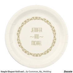 Simple Elegant Gold and Ivory Vintage Wedding Paper Plate