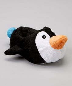 Take a look at this Black Penguin Plush Slipper by Chatties on #zulily today!