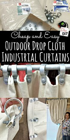 Outdoor DIY Curtains are all the rage! These cheap and easy no sew drop cloth curtains with an industrial look make… Outdoor DIY Curtains are all the rage! These cheap and easy no sew drop cloth curtains with an industrial look make… No Sew Curtains, Rod Pocket Curtains, Cheap Curtains, Shower Curtains, Nursery Curtains, Long Curtains, Burlap Curtains, Green Curtains, Hanging Curtains