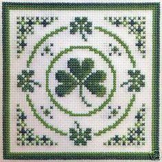 Textile Heritage IRISH CIRCLE OF SHAMROCKS Cross Stitch KIT