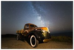 Ford Pickup at Whitsand Bay Cornwall and the Milkyway