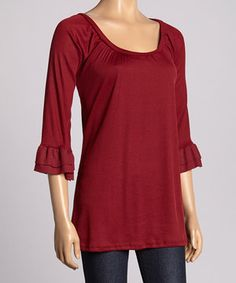 Look what I found on #zulily! Burgundy Ruffle Scoop Neck Top by Casa Lee #zulilyfinds