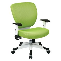 5200W Space Task Chair, Green Mesh Fabric Seat and Back, Tilt Lock with Seat Slider, White Coated Base #task #mesh #office #chair