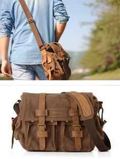 Canvas Vintage Leather Messenger Bag Satchel