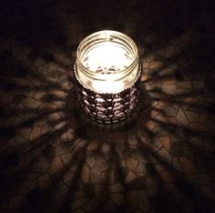 Handmade Crocheted Tea Light Jar in Grey Jar Lights, Tea Light Holder, Candle Holders, Candles, Homemade, Grey, Home Decor, Gray, Decoration Home