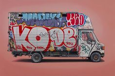 Kevin Cyr's series of both European and US vehicles continues to grow. Commercial vehicles inundated with graffiti and rust, working vehicles, and well-travelled recreational vehicles. He puts his vehicles on… Graffiti Art, Wie Zeichnet Man Graffiti, Graffiti Drawing, Street Art Graffiti, Photo D Art, Car Drawings, Art Abstrait, Urban Art, Concept Art