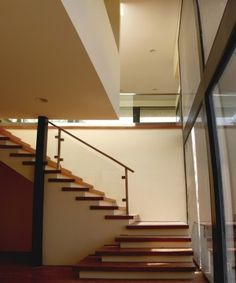 two tone stairs with glass