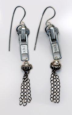 Upcycle zipper earrings