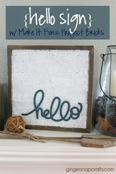 Hello Sign with Make It: Fun® Project Bricks--don't care for the bricks but love the font and idea. Diy Craft Projects, Fun Crafts, Crafts For Kids, Projects To Try, Arts And Crafts, Paper Crafts, Hello Sign, Crafty Craft, Crafting