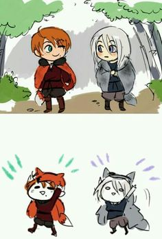 Hetalia - Little 2p Austria and little 2p Prussia This is so cute!!!