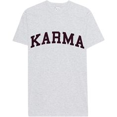 L.A.LU Design Karma Grey // Printed cotton t-shirt (185 BRL) ❤ liked on Polyvore featuring tops, t-shirts, distressed tees, destroyed t shirt, crew neck t shirt, grey tee and crew neck tee