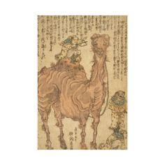 Man Playing Triangle on Camel - Vintage Japanese Art Image on Premium Wrapped Canvas #elegant #vintage #art #camel #triangle #japan #japanese #home #style #design #decor #zazzle