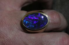 Black Opal Mens Ring 14 k solid yellow gold by Wishgrantor on Etsy