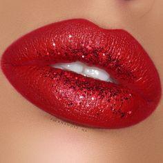 Lip decor ✨ Brilliant Cream Lipstick by #liplandcosmetics in the shade •23 Red• Glitter from craft store